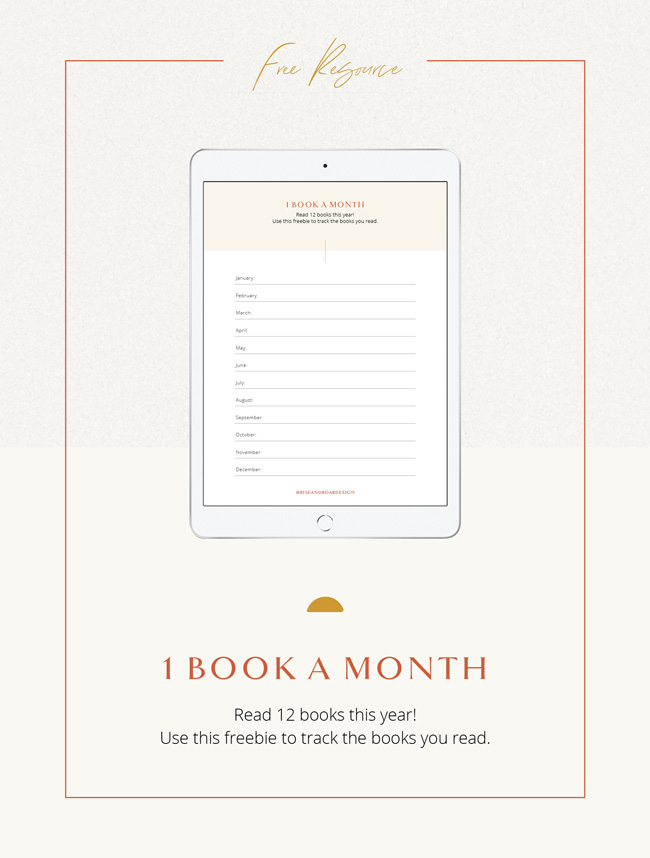1 Book A Month Free Resource